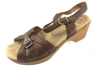 a2cd51f471e0 SH4 Dansko EUR 40 US 9.5-10 Brown Braided Leather Ankle Strap Block ...