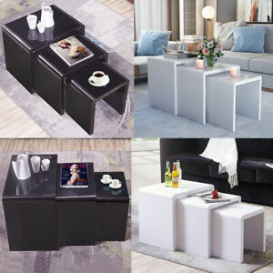 Details about White Black High Gloss Nest of 3 Coffee Tables Side End Table  Set Living Room UK