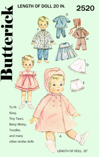 Butterick 2520-20 inch doll sewing pattern etc tiny tears betsy wetsy