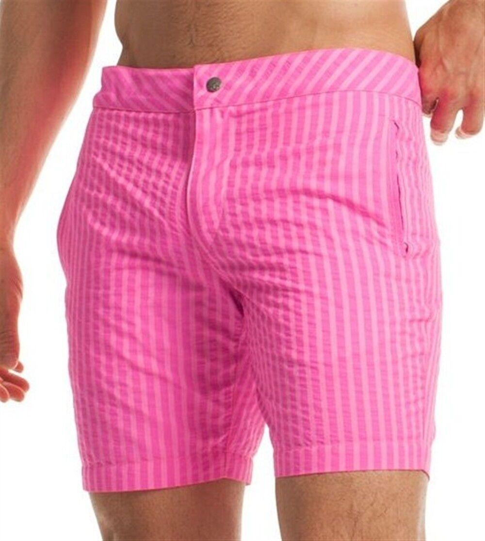 MR TURK 'Safari' Men's Pink Stripe Swim Trunks   Board Shorts 31   NEW