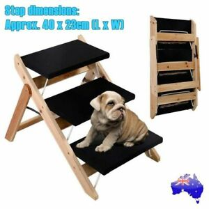 Foldable-Pet-Dog-Cat-3-Steps-Ramp-Portable-Doggy-Stairs-Ladder-Washable-Cover-AU
