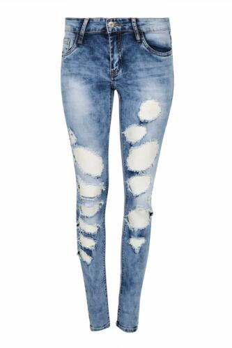 Womens Ladies Skinny Rip Stretchy Stretch Cut Out Distressed Damaged Denim Jeans