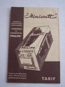 Publicite , Lampes A Caracteristiques Americaines , Miniwatt Philips , Tarif . Cplddxgs-08005148-653317923