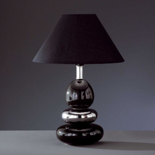 Honsel Lampe de table balon 1-flg Interrupteur Céramique Chrome Noir tissu parapluie e27