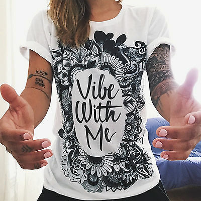 Fashion Womens Loose Grunge T-shirt Summer Short Sleeve Graphic Tee Tops Blouse