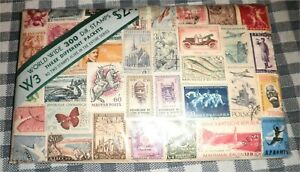 Original-Package-of-300-Diff-World-Wide-Vintage-Postage-Stamps-3-Packets-SEALED