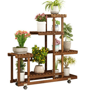 5-Tier-Rolling-Flower-Rack-Wood-Plant-Stand-Casters-10-Pots-Bonsai-Display-Shelf