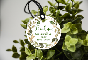 10 White Gift Tags Teacher Favour Personalised Bomboniere Thank you Child Grow
