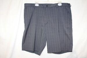 NIKE-GOLF-DRI-FIT-Flat-Front-Black-amp-Gray-Plaid-Casual-Golf-Shorts-Mens-40-B107