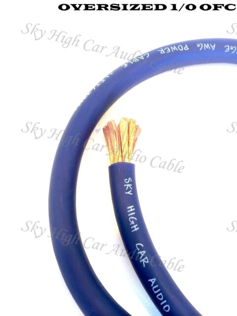 50 ft OFC 1/0 Gauge Oversized BLUE Power Ground Wire W/ SPOOL Sky High Car Audio