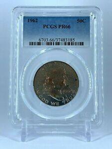 PR66-1962-PCGS-GRADED-FRANKLIN-90-SILVER-HALF-DOLLAR-PROOF-COIN-MONSTER-TONED