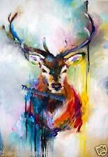 Stag Deer watercolour Animals Wildlife Picture Poster Home Art Print New