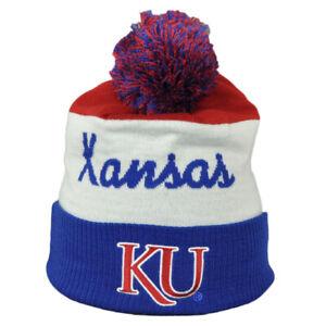 NCAA-Adidas-Kansas-Jayhawks-KU82Z-Pom-Knit-Beanie-Striped-Cuffed-Hat