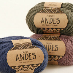 DROPS-ANDES-35-ALPACA-65-WOOL-100g-Chunky-Bulky-Warm-Winter-Knitting-Yarn