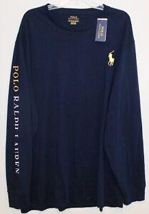 Polo-Ralph-Lauren-Big-Tall-Mens-Navy-Blue-L-S-Big-Pony-Crewneck-T-Shirt-NWT-XLT