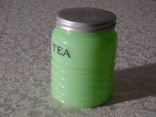 Vintage Jeannette Jadite Round Ribbed Tea Canister