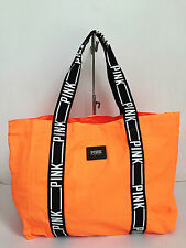 BNEW Authentic PINK By VICTORIA'S SECRET Large Canvas Tote Bag Orange FREE SHIP