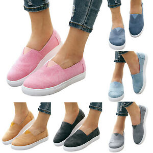 Womens-Casual-Canvas-Slip-On-Flats-Shoes-Sports-Trainers-Sneakers-Comfy-Loafers