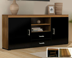 Image Is Loading Wood Tv Stand Sideboard Unit Cabinet With