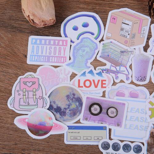 46Pcs Vaporwave Label Sticker Handmade Scrapbooking Stationery Bakery Decor OS