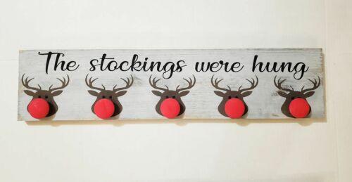 The Stockings were hung Rudolph//Santa Christmas stocking holder