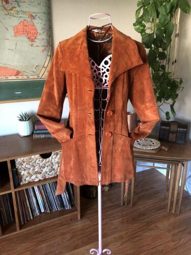 Op Ægte Læder Frakke Knap Hippie Bæltet Vintage Ægte zqnXvz