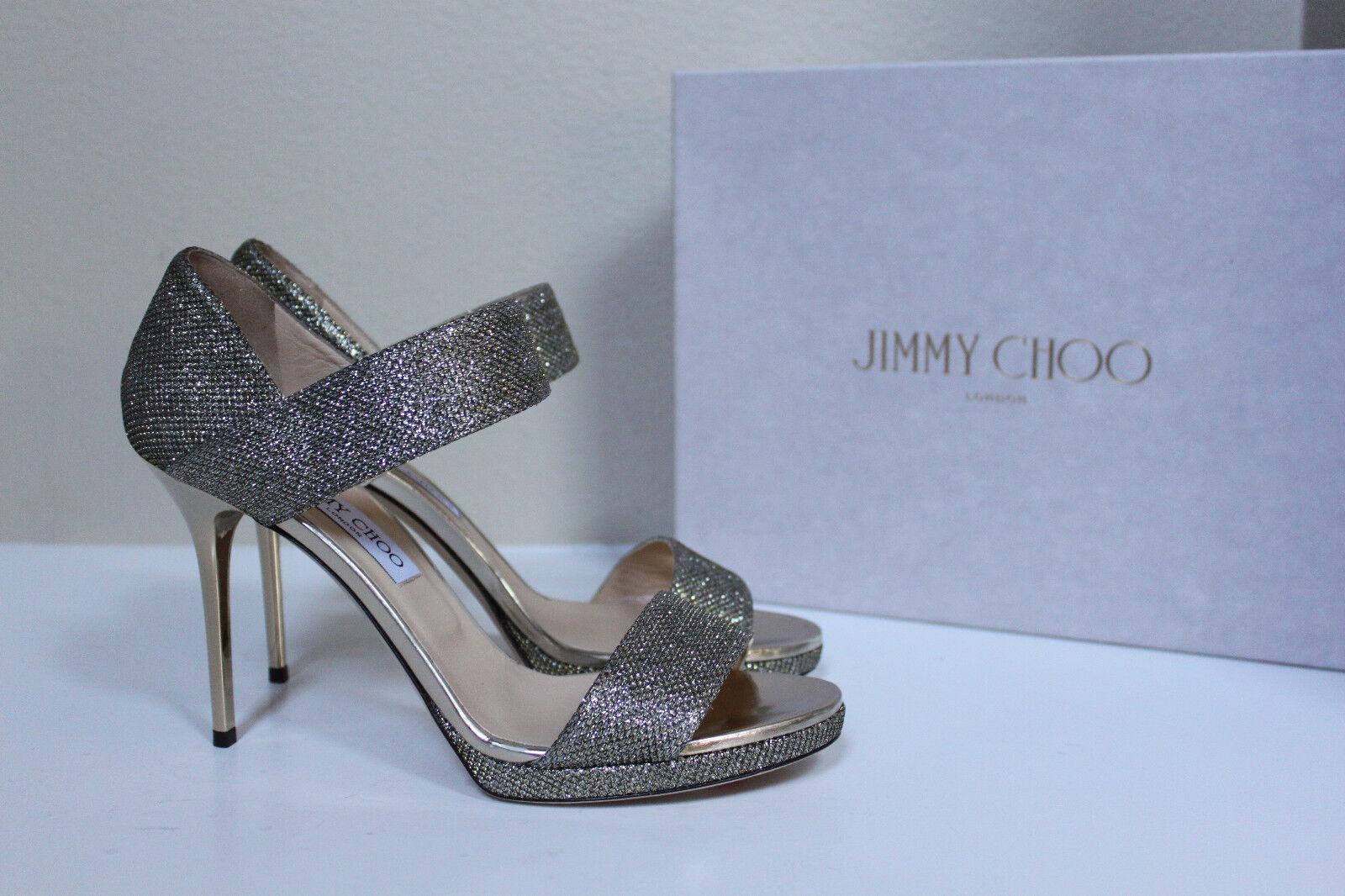 Nuevo SZ 10,5   40,5. Sandalias de metal de flash plateado Jimmy Choo Alana.