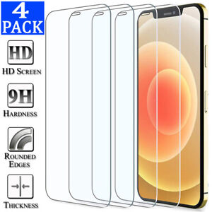 4-Pack For iPhone 12 11 Pro X XR XS Max 8 7 Plus Tempered Glass Screen Protector