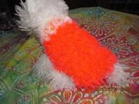 Bright Safety Orange Snowball Fluffy Furry Dog Sweater Xxs
