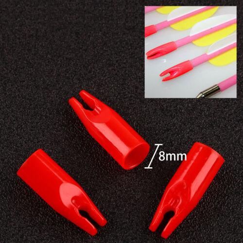 100pcs ID 8mm Arrow Nocks Red Plastic Nock Tail Arrow Components Length 27mm
