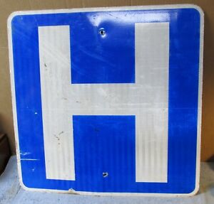 HOSPITAL-034-H-034-Vintage-Used-Aluminum-Street-Sign-24-x-24-Man-Cave-Garage-S34