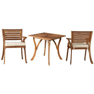 Teak-Oiled-Outdoor-Patio-3-Piece-Dining-Set-with-Cushions-New-Exclusive