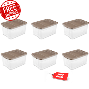 Storage Container 76 Qt.//72 L Stacker Box Tote Organizer Chest Clear Case of 6