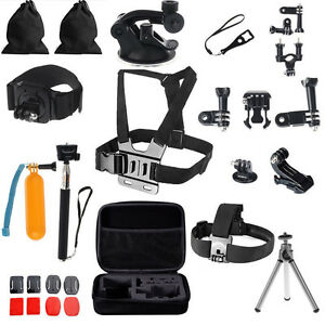 30 in1 Pole Head Chest Mount Strap Camera Bundle Accessories Kit for GoPro 2 3 4