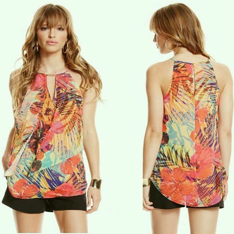 GUESS BY MARCIANO HOT HOUSE HIBISCUS TOP