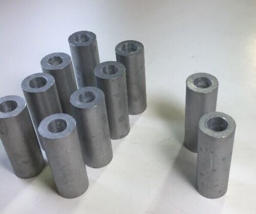 """10 Aluminum 1//4/"""" Bolt Spacers 1//2/""""ODX 1//4/"""" IDX 1 3//8/"""" long made in the USA"""