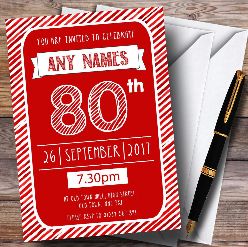 Rouge & blanc rayée deco 80th personnalisé fête d'anniversaire invitations invitations d'anniversaire 06fe63