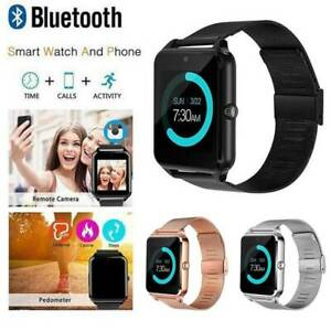 Bluetooth-Android-Smart-Watch-Wrist-Steel-Band-Phone-GSM-SIM-Mate-Waterproof