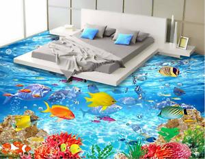 3D Red Coral Clownfish 9 Floor WallPaper Murals Wall Print Decal AJ WALLPAPER US