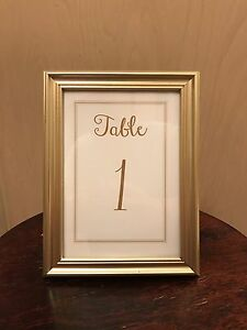 Champagne Gold Wedding Collection Frame With Table Numbers 5 Inch