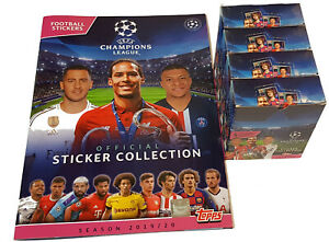 Topps-Champions-League-Sticker-2019-2020-Album-4-x-Display-120-Booster-19-20