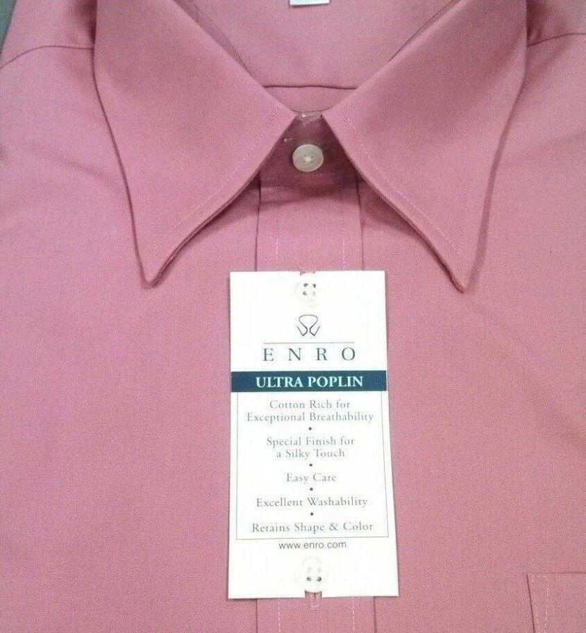 ENRO Mens Dress Shirt Ultra Poplin EZ Care Point Collar  NWT 17-34 35 pink