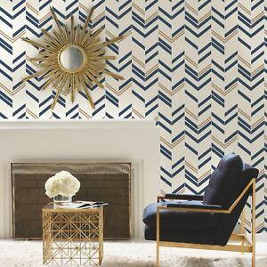Details About Roommates Rmk9002wp Chevron Stripe Peel And Stick Wallpaper Blue Free Shipping