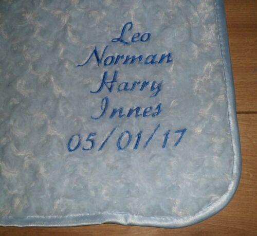PERSONALISED BABY BOY GIRL BLANKET NEWBORN GIFT NAME DATE FLEECE DIMPLE ROSE FUR