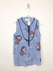 Womens-Stitch-Fix-Alice-Blue-Blouse-Size-LP-Large-Petite-Elmhurst-Tie-Neck-Top