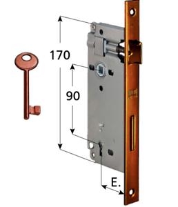 Serratura D 70 bordo quadro per porte interne finitura bronzata entrata 50 e 45
