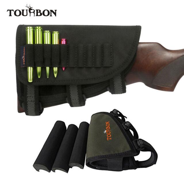 Tourbon Adjustable Buttstock Rifle Ammo Holder Cheek Rest Pouch Left Hand Black