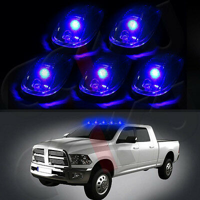 Blue LED Roof Running Smoked Marker Lamp Cover Cab Dome Light For Truck SUV 4x4