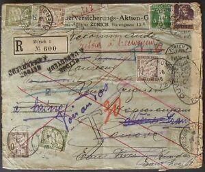 s375-Schweiz-Frankreich-Einschreiben-1916-Irrlaeufer-6-Portomarken-Zensur