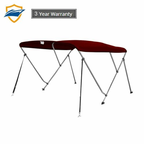 w//support poles Color Burgundy 3 Bow Bimini Boat Top Cover with storage boot
